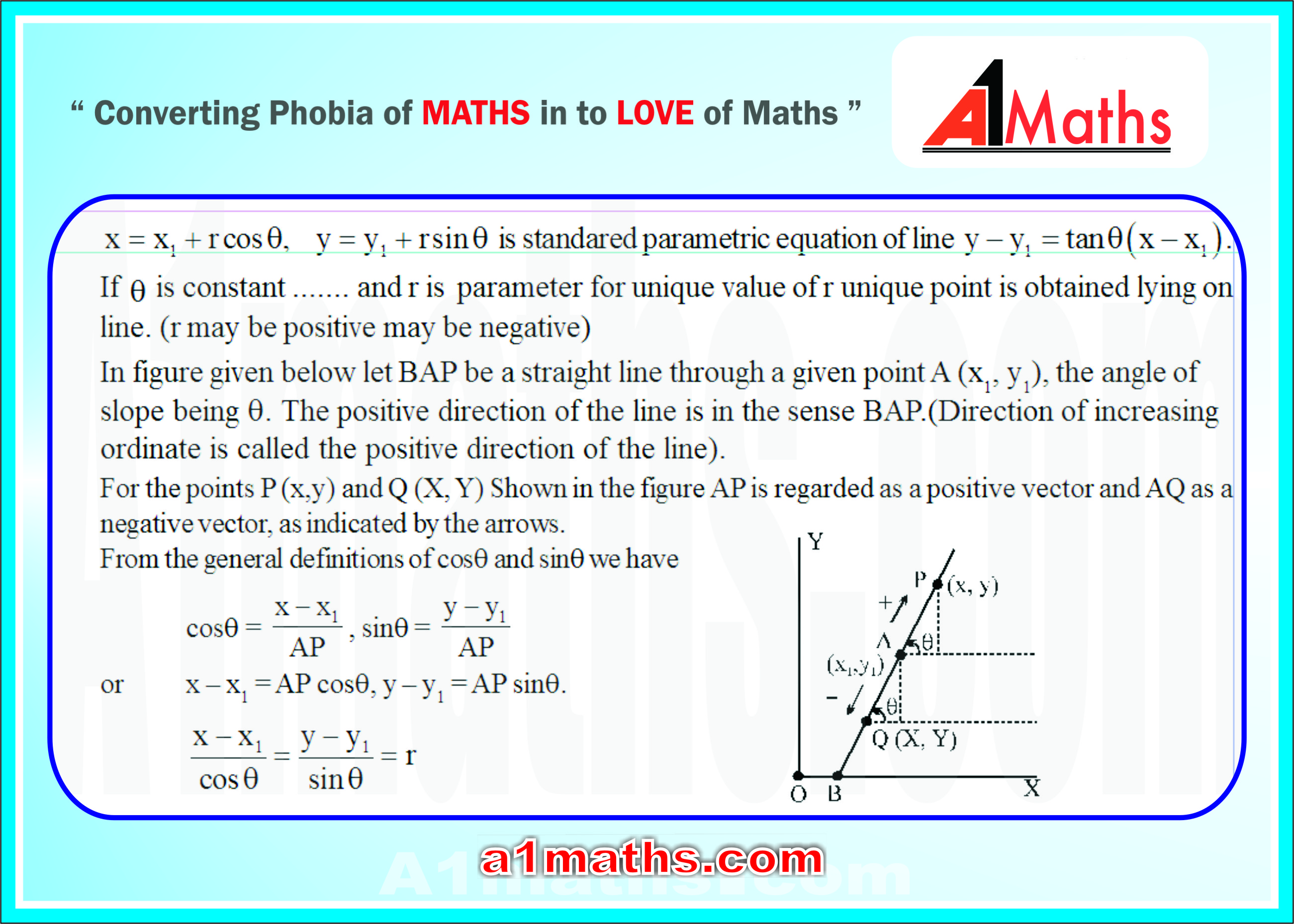 34 parametric equations of lines- applications-coordinate geometry-IIT JEE-MAINS /ADVANCED