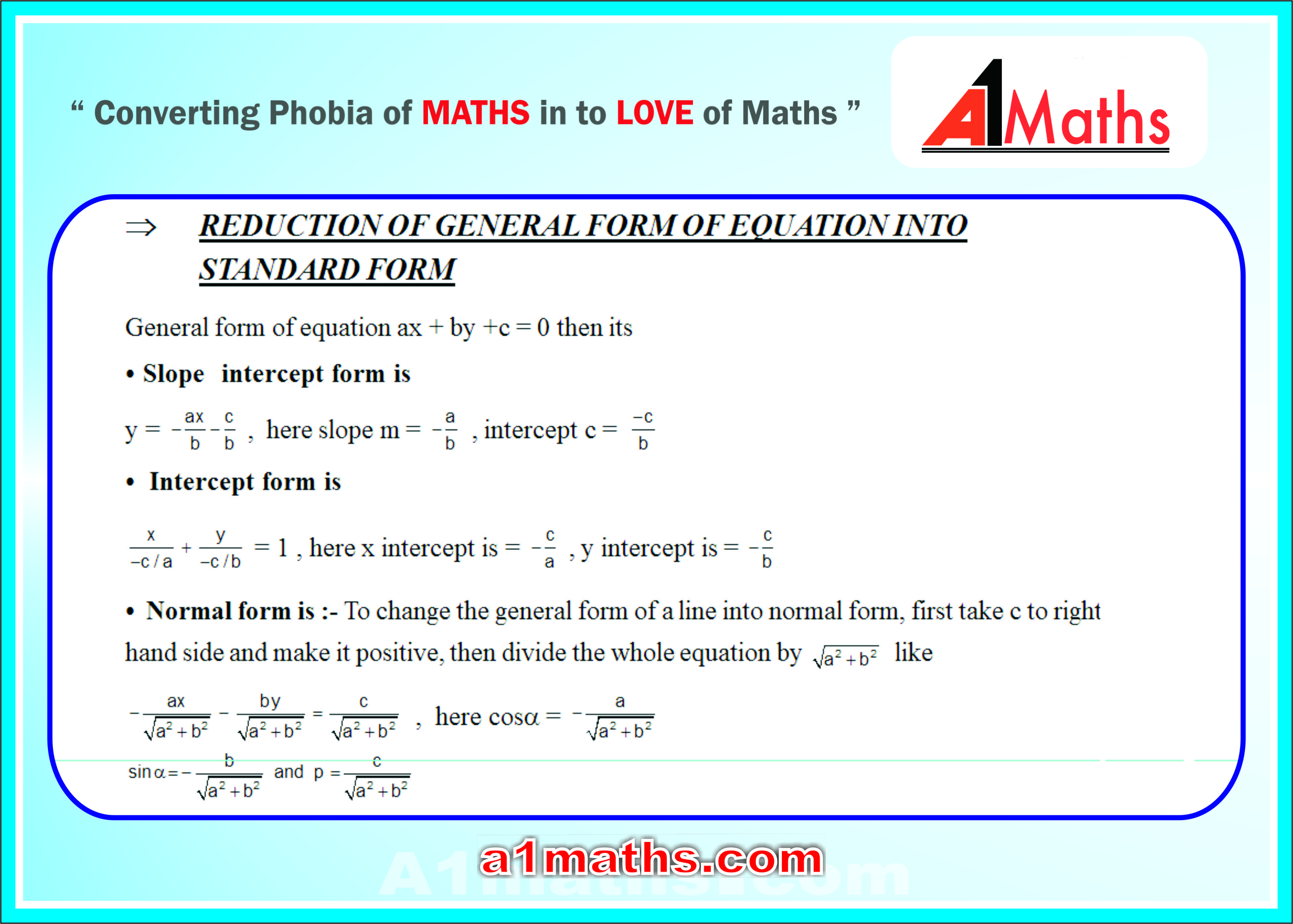Standared equations in different forms straight lines free study in fact all forms of lines are same for jee mainsadvanced remember falaconquin