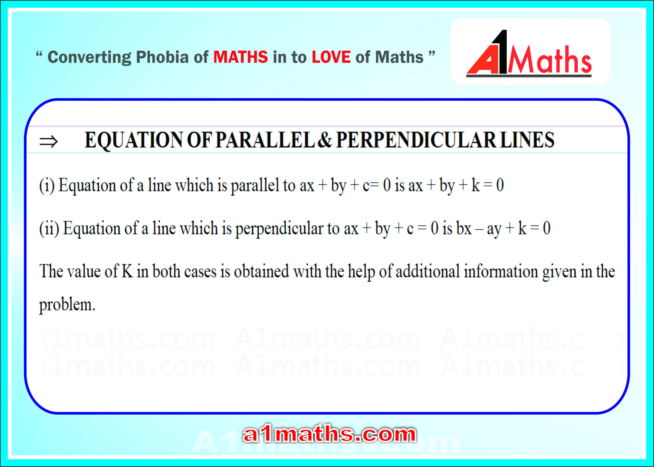 conditions when lines are parallel or perpendicular