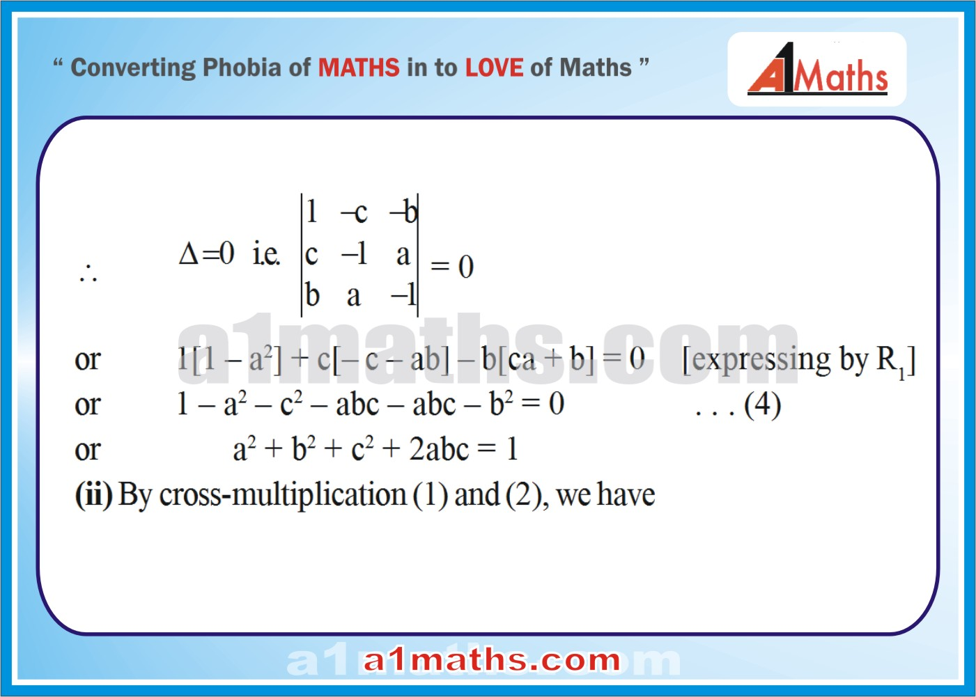 Solved Examples-5-2- Algebra-1-Matrices & Determinants-IIT-JEE Maths-Mains-Advanced-Free Study Material-