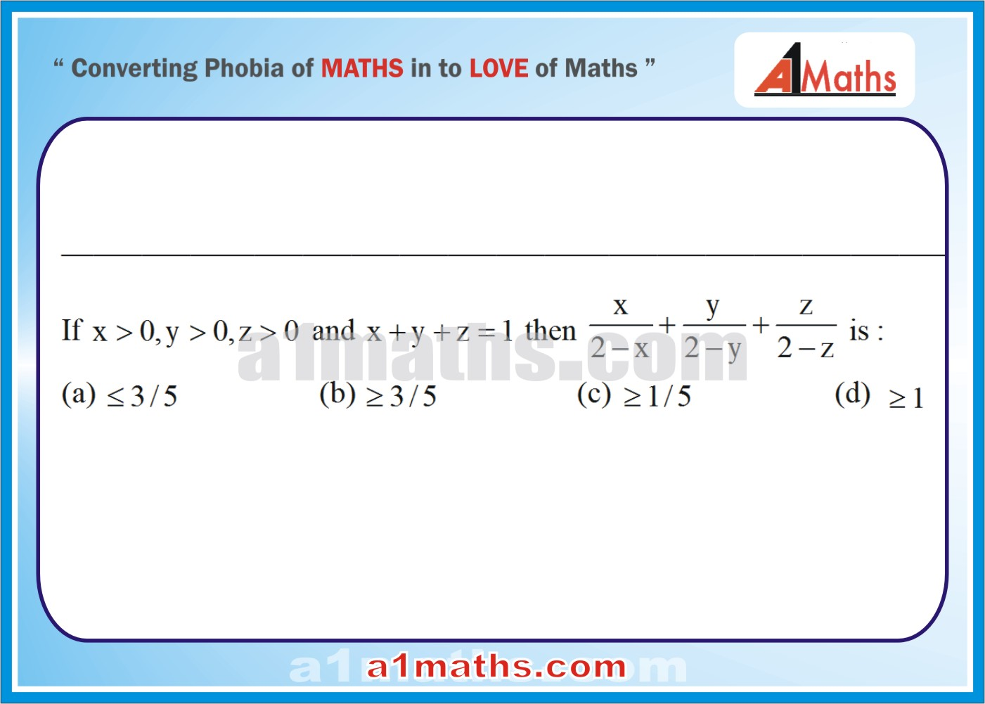 Multiple Choice Questions (Solved)-3-INEQUALITY-MATHS-IIT-JEE-MAINS