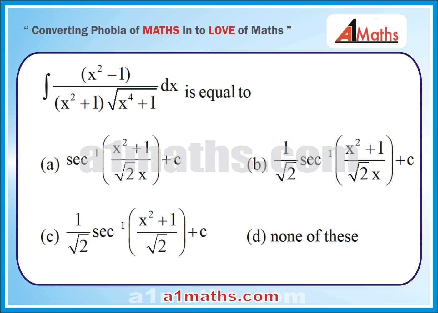 IIT JEE MATHS-Indefinite Integration-Integral Calculus