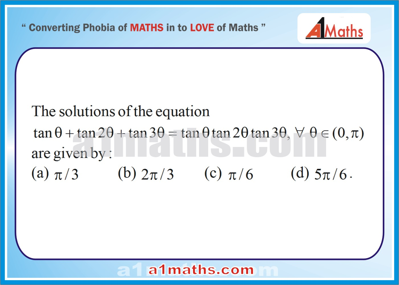 Multiple choice questions (Solved)-Trigonometric equations