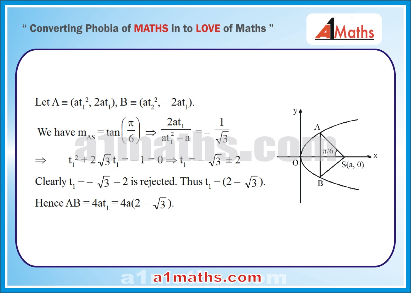 Objective-Solved Problems-11-1-Parabola-Coordinate Geometry-IIT-JEE