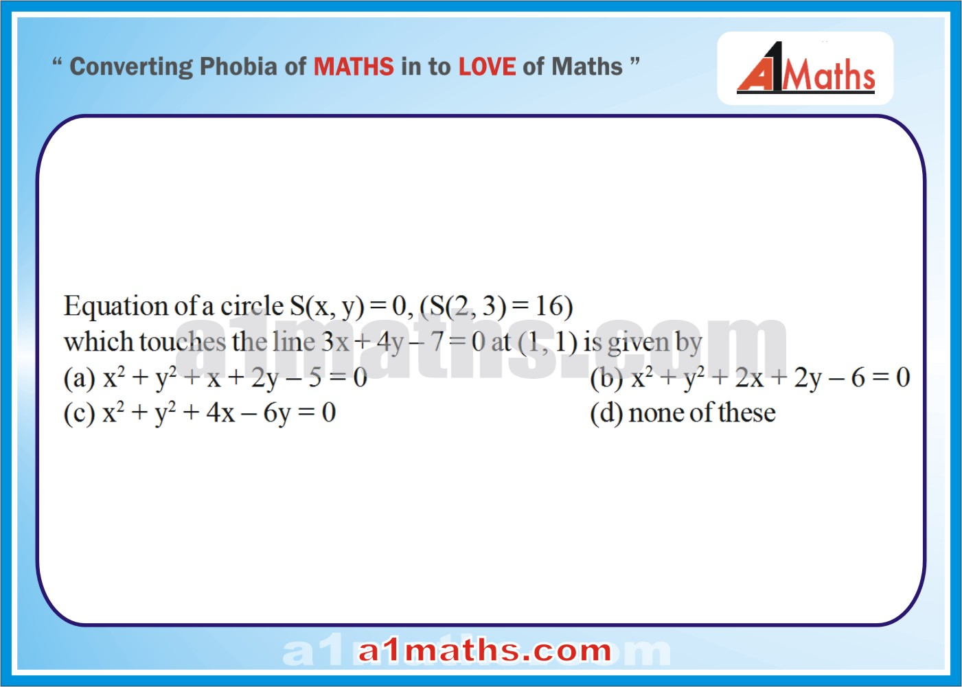 Circles-Coordinate Geometry-Maths-Solved-Objective-Problems