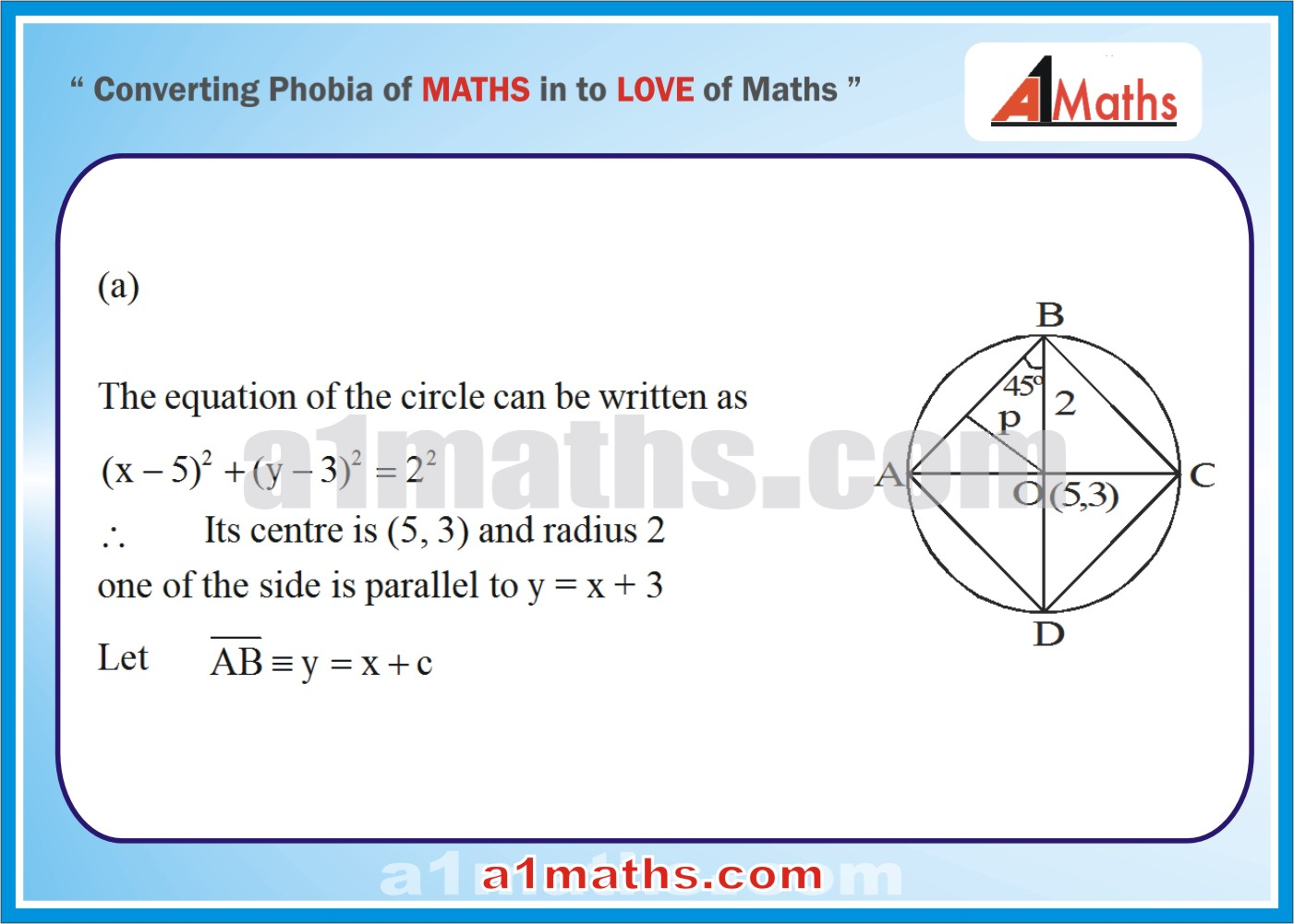 CIRCLE FOR IIT JEE