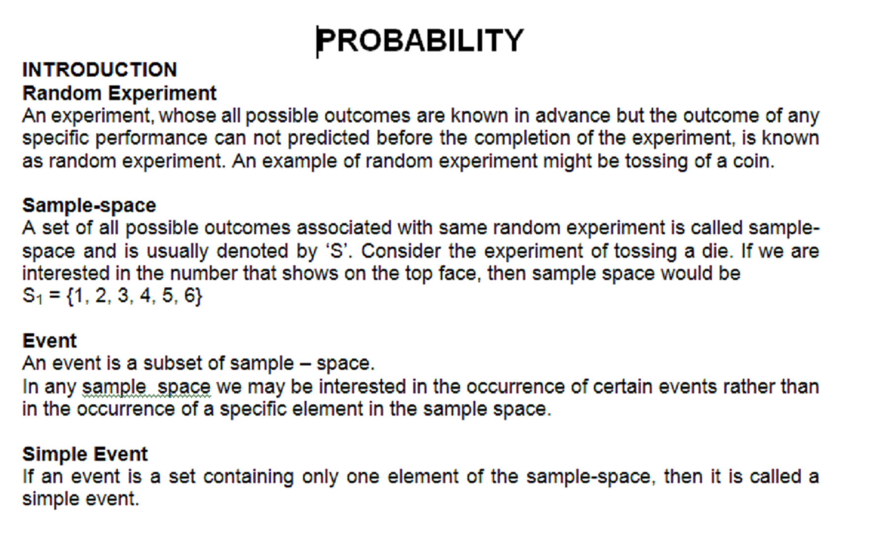 probability CONCEPTS 1